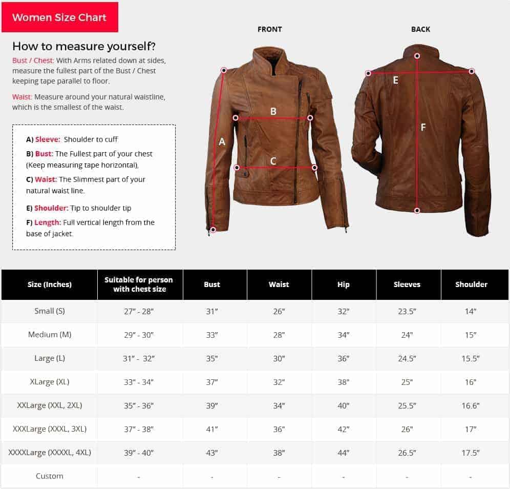 Mens leather jacket size chart